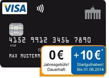 Kostenlose Kreditkarte Deutschland- Karte: 10€ Startguthaben + Datenschutz- Gedanken