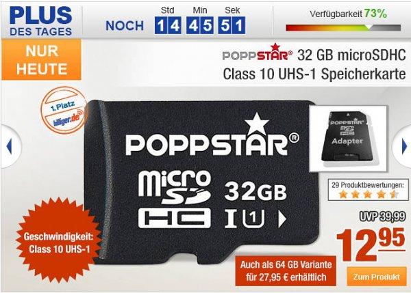 Poppstar microSDHC Class 10 UHS-1 Speicherkarte - 32 GB