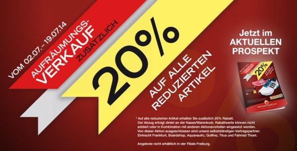 20% zusätzlicher Rabatt auf reduzierte Artikel @Sportarena