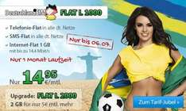 DeutschlandSIM Flat L 1000 & 2000 - Allnet Flat, Internet-Flat 1GB, SMS-Flat, keine MVZ - statt 19,95€ nur 14,95€ mtl. bzw. 19,95€ mtl. für Flat L 2000 & Qipu 10€  Cashback