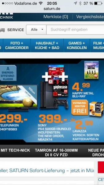 Saturn Late Night : Sony PS4 mit Wolfenstein und NBA 2K14 für 419€