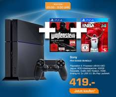 Sony PlayStation 4 + NBA 2K14 + Wolfenstein für 423,99€ @saturn.de LateNight