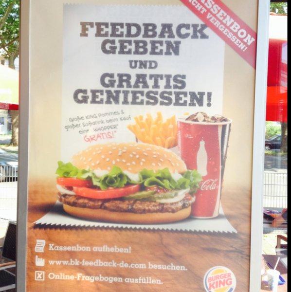 Burger King. Große Pommes und Großes Getränk kostenlos