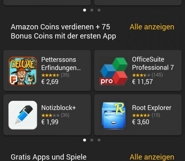 75 Amazon Coins beim Kauf von kostenpflichtigen Apps - Freebies (Gewinn) möglich