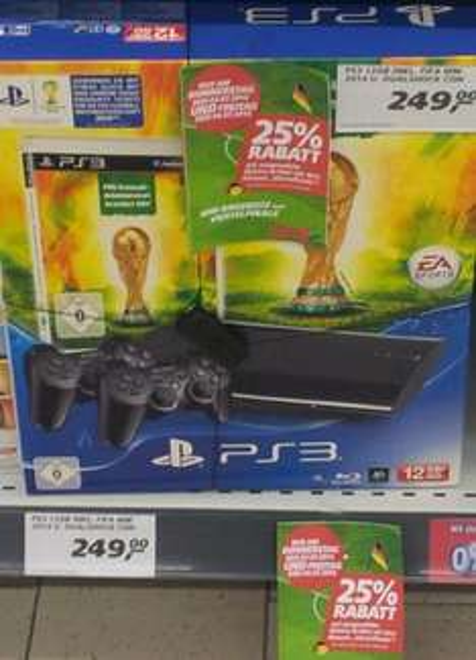 Sony Playstation 3 12GB inkl WM 2014 und 2 Controller nur 186, 75 € Real Groß-Gerau