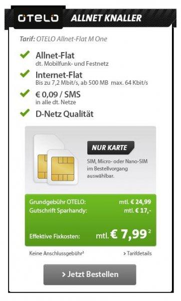 [Sparhandy/One.de] OTELO Allnet Flat, Internet Flat 500MB 7,2 Mbit/s, D2-Netz ---> 7,99€