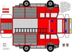 Feuerwehrautobastelbogen