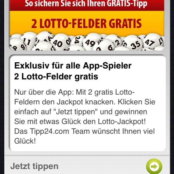 2 Lottofelder Tipp24.com für App Spieler