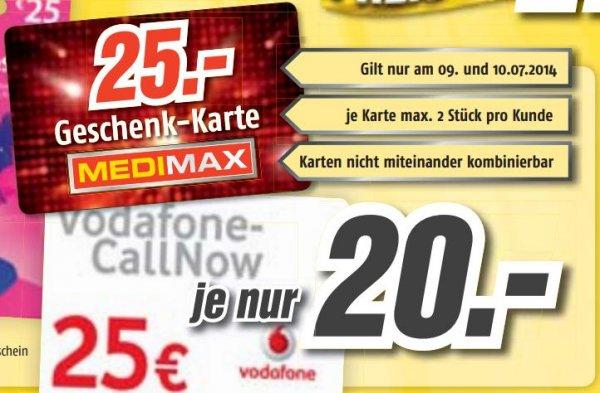 [Medimax] 25-Euro-Gutschein-Karten (Geschenkkarte, Itunes, Playstore, Callnow) für 20 Euro