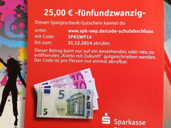 [LOKAL] SPK-SWP - 25€ für Konto mit Zukunft (Gutschrift)