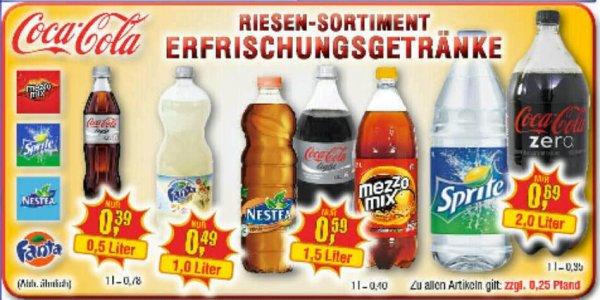 [lokal PLZ 4/5] Coca Cola, etc. zu top Preisen, z.B. 1,5l 0,59€, 2l 0,69€ @centershop