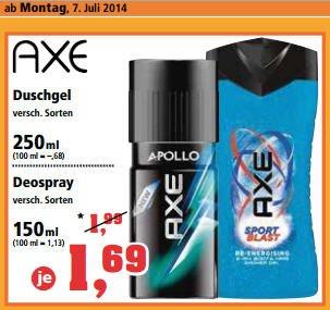 AXE je 1,69€ Deospray & Duschgel @ ThomasPilipps (ab 07.07.2014)
