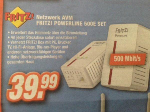 [Expert] Fritz! Powerline 500E Set für 39,99€ (38% unter Vergleichspreis)-- OFFLINE