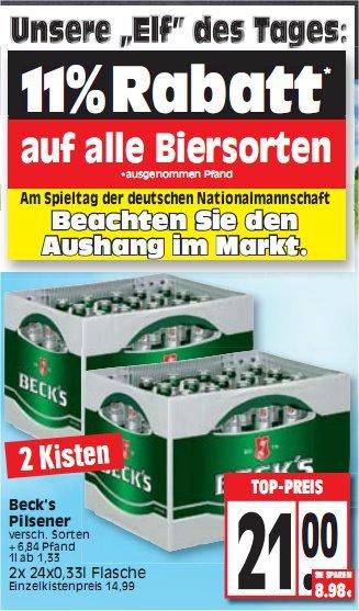 [EDEKA Nord?] 2 Kisten Becks 21,00 €, Dienstag nur 18,69 € (Dienstag 11% auf ALLE Biersorten)