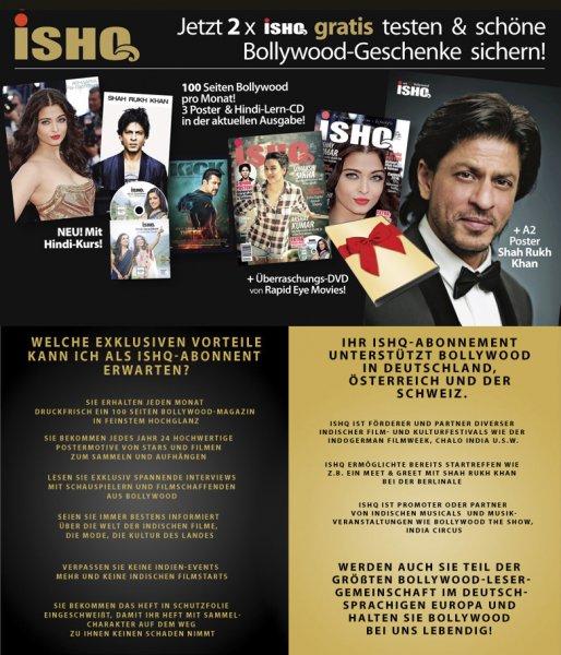 Gratis: 2x Ausgaben ISHQ Bollywood and Lifestyle Magazine + Überraschungs-DVD + Poster (nicht selbstkündigend)