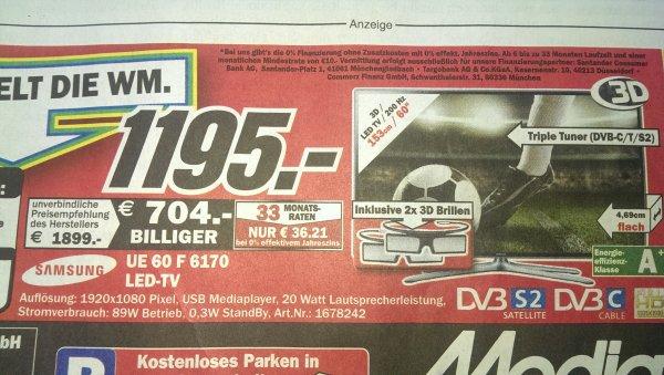 (lokal Neubrandenburg) Samsung UE60F6170 Für 1195. EUR