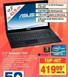"[Metro] Asus F75VC - 17,3"" Notebook mit 8 GB RAM, 1 TB HDD, intel Core i3,... für 499,79 €"