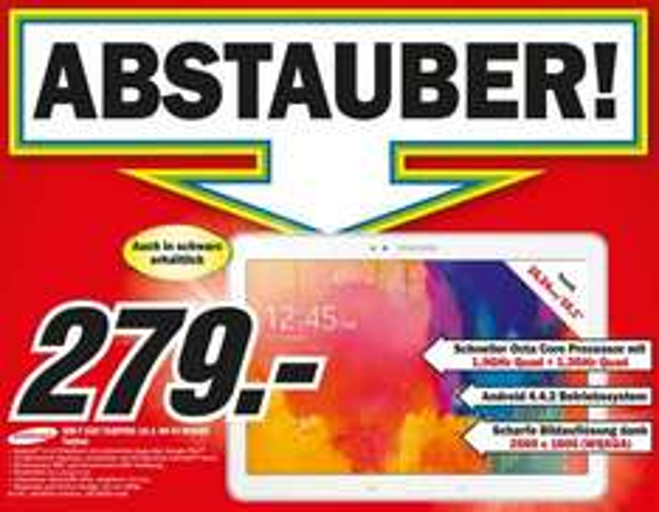 Samsung Galaxy Tab Pro 10.1 16GB WiFi für 279€ Lokal [Mediamarkt Porta Westfalica/Minden]