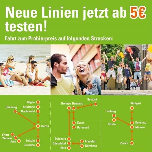 Ausgewählte Meinfernbus Tickets für nur 5€