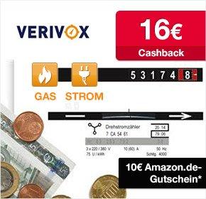 Verivox: 16€ Cashback von Qiput + 10€ Amazon Gutschein für deinen Stom- oder Gasanbieterwechsel