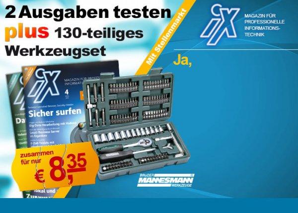 2x iX Magazin + 130teiligen Mannesmann Werkzeugkoffer für 8,35