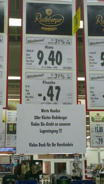 Kasten Radeberger Pils für 9,40€ anstatt 13,80€ ab heute bis Samstag im Kaufland Zwickau (lokal)