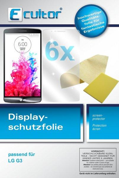 Ecultor LG G3 Schutzfolie (6 Stück) inkl. Tuch und Rakel - klare Premium Folie als Displayschutz
