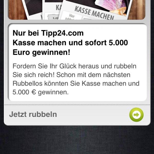 "Zwei rubbellose ""Kasse machen"" Tipp24.com App"