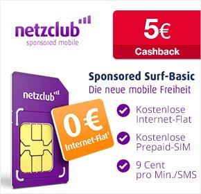 [Qipu] netzclub: 5€ Cashback für kostenlose SIM-Karte