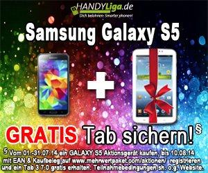 Bei Handyliga.de zu jedem  Samsung Galaxy S5 ein Galaxy Tab Gratis!