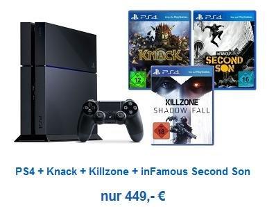 Playstation 4 mit  3 Spielen (Infamous, Killzone, Knack) für 449€ Versandkostenfrei