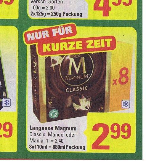 [ Marktkauf ] Langnese Magnum Eis 8er Pack 880ml für 2,99€  /   Landmann Grill 4,44€  ab Montag