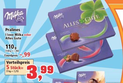 I love Milka oder Pralines 5 Stück für 3,99€(Packung 80Cent)bei Thomas Philipps [bundesweit in den Filialen]