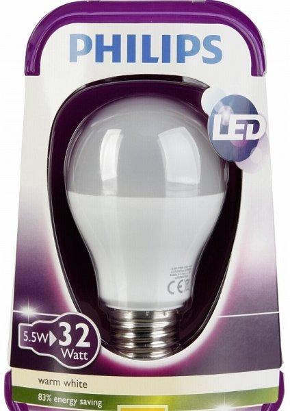 [SATURN - super sunday] PHILIPS LED-Lampe 5,5 Watt / E27 warmweiß / 32 Watt Glühlampenersatz