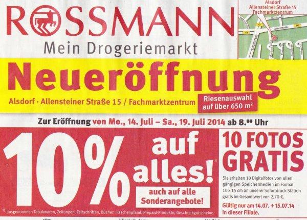 [offline - lokal Alsdorf] Rossmann Neueröffnung 10% auf alles + 10 Fotos 10x15 gratis am 14. + 15.07 + weitere % Rabatte