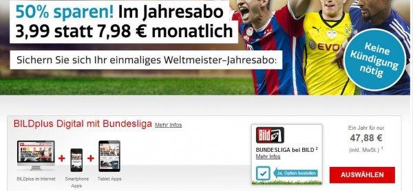 BILDplus 50% aufs Jahresabo (inkl. Bundesliga) anstatt 95,76 € nur 47,88 €