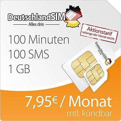 DeutschlandSIM 1 GB Daten-Flat, 100 Frei-Minuten, 100 Frei-SMS | 7,95 Euro/Monat | O2 monatlich kündbar
