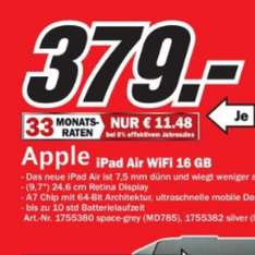[Media Markt Krefeld] iPad Air 16GB WIFI only Silber/Spacegrau