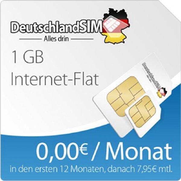 DeutschlandSIM Surfpaket 1 GB [Nano-SIM] - 12 Monate Vertragslaufzeit (1 GB Daten Flat, 0,00 Euro/Monat in den ersten 12 Monaten, danach 7,95 / Monat) o2-Netz