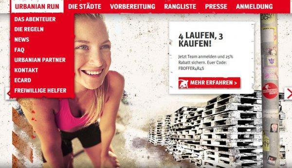 Urbanian Run Startplätze 4 zum Preis von 3 Anmeldung als Team