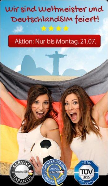 Deutschlandsim Smart 200 o2 Netz 50Min/50SMS/200MB mtl.kündbar 2,95€, 50% auf Wunschrufnummern
