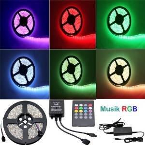 2x  Besdata 5m 500CM RGB 5050 300 SMD LED Strip Leiste Streifen Fernbedienung Netzteil 12V 6A 72W - Wasserdicht - Blitzend nach Takt der Musik -