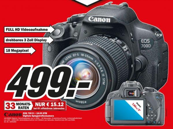 Canon EOS 700D Kit 18-55 mm [IS STM] für 499€(-50€ Cashback = 449€) Lokal [Mediamarkt Velbert]