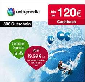 Unitymedia: 50€ BestChoice Einkaufsgutschein auf alle Produkte + bis zu 120€ Cashback