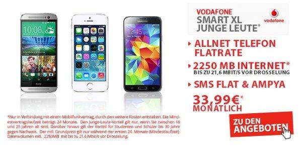 Iphone 5s Vodafone XL Junge Leute (nur 1€ Anzahlung) für mtl.33,99Euro