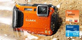 Panasonic DMC-FT5EG9-D Lumix Digitalkamera (7,5 cm (3 Zoll) LCD-Display MOS-Sensor, 16,1 Megapixel, 4,6-fach opt. Zoom, microHDMI, USB, bis 13m wasserdicht) orange  für 267€