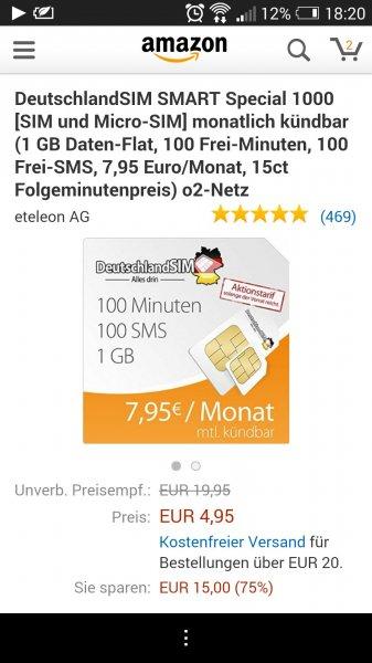 Deutschland SIM 100 SMS / Freiminuten / 1GB