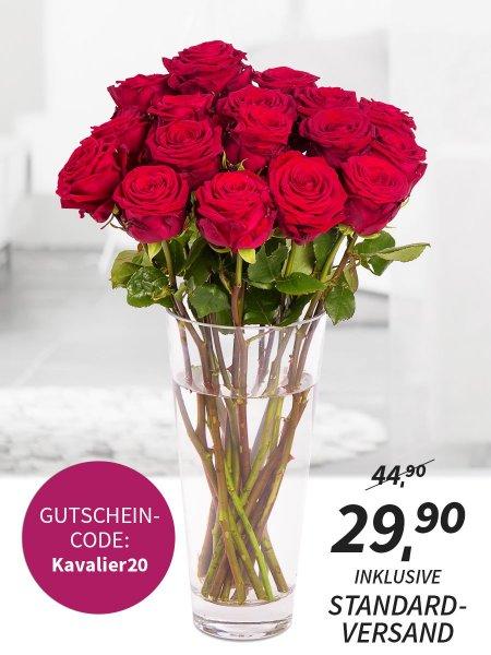 20 langstielige rote Rosen für 19,90