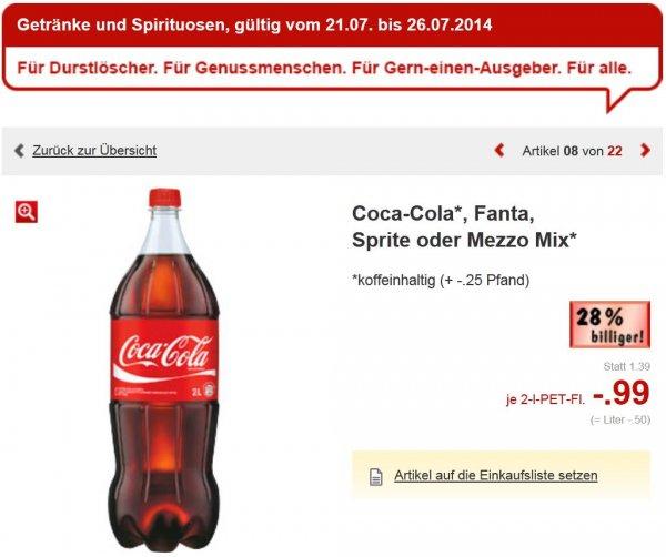 Kaufland (Landesweit NRW evtl.Bundesweit) Coca-Cola, Fanta, Sprite oder Mezzo Mix 2 L 0,99€