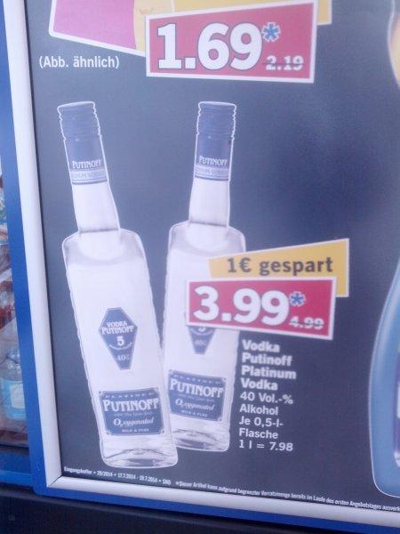 [LOKAL-OFFLINE?] 3,99€ Putinoff Platinum Vodka - lidle HH